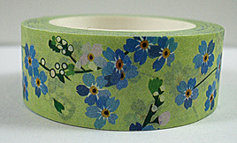 Washi Tape - Blue Blossoms on Light Green Background