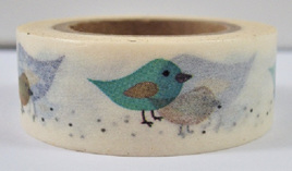 Washi Tape - Blue, Brown & Turquoise Birds