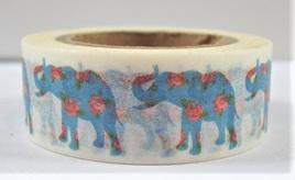 Washi Tape - Blue Elephants & Flowers
