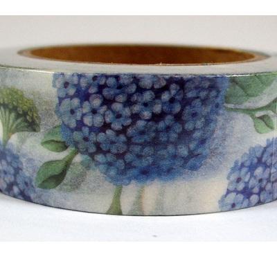 Washi Tape - Blue Flowers on White Background