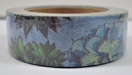 Washi Tape - Blue & Green Flowers and Leaves