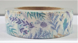 Washi Tape - Blue, Green & Purple Flower and Leaf Pattern