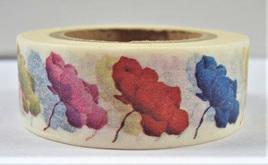 Washi Tape - Blue, Red, Orange, Green, Yellow & Purple Flowers