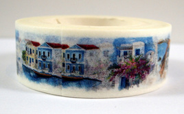 Washi Tape - Blue & White Greek Island Scene