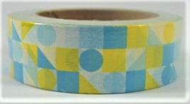 Washi Tape - Blue & Yellow Geometric Pattern