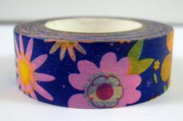 Washi Tape - Bright Flowers on Blue Background