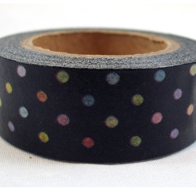 Washi Tape - Bright Polka Dots on Black Background