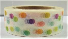 Washi Tape - Bright Polka Dots on White Background