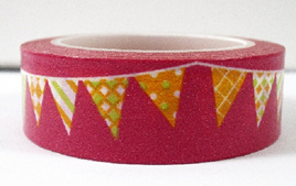 Washi Tape - Bunting on Bright Pink Background