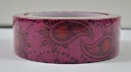 Washi Tape - Burgundy & Pink Retro Pattern