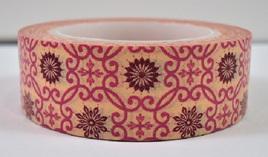 Washi Tape - Burgundy & Pink Vintage Pattern