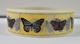 Washi Tape - Butterflies in Yellow & White Squares