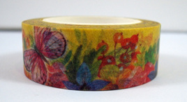Washi Tape - Butterflies on Yellow Background