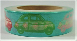 Washi Tape - Cars on Green Background