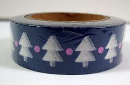 Washi Tape - Christmas Trees on Winter Blue Background