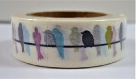 Washi Tape - Colourful Birds on a Wire: Style B