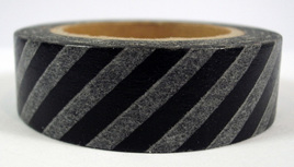 Washi Tape - Diagonal Stripes: Black & White