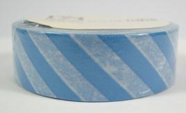 Washi Tape - Diagonal Stripes: Blue & White