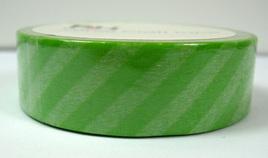 Washi Tape - Diagonal Stripes: Green & White