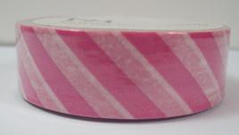 Washi Tape - Diagonal Stripes: Pink & White