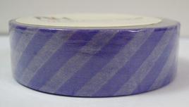 Washi Tape - Diagonal Stripes: Purple & White