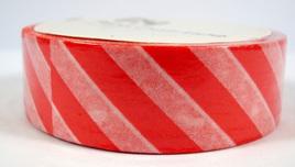 Washi Tape - Diagonal Stripes: Red & White