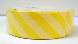 Washi Tape - Diagonal Stripes: Yellow & White