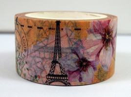 Washi Tape - Eiffel Tower and Flowers