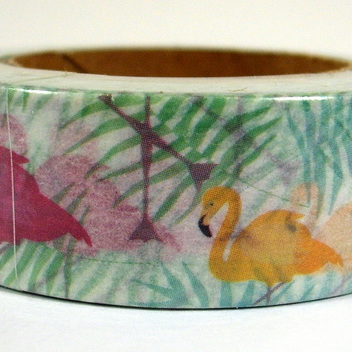 Washi Tape - Flamingos in the Grass