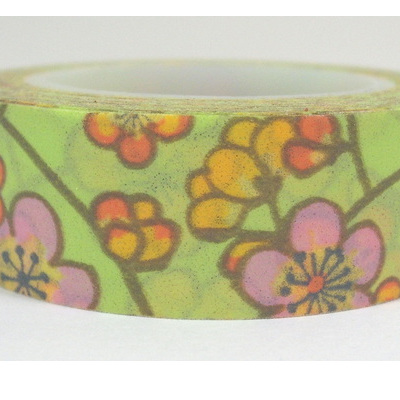 Washi Tape - Flowers on Light Green Background