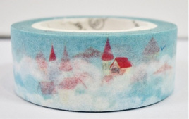 Washi Tape - Houses with Red Roofs in a Snowy Village