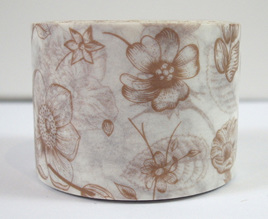 Washi Tape - Light Coffee-Coloured Flowers on White Background