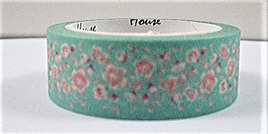 Washi Tape - Light Pink Flowers on Blue Background
