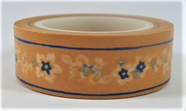 Washi Tape - Little Blue Flowers on Orange Background CLEARANCE