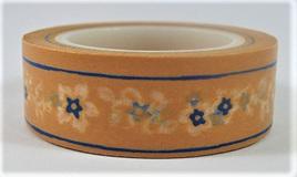Washi Tape - Little Blue Flowers on Orange Background CLEARANCE