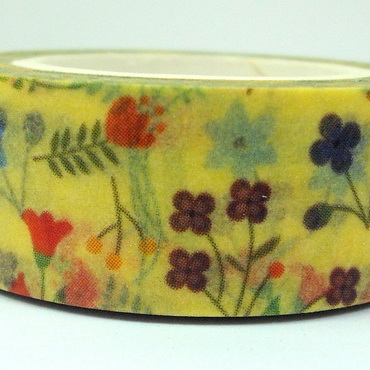 Washi Tape - Little Flowers on Yellow Background