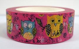 Washi Tape - Owls on Pink Background