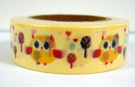 Washi Tape - Owls on Yellow Background