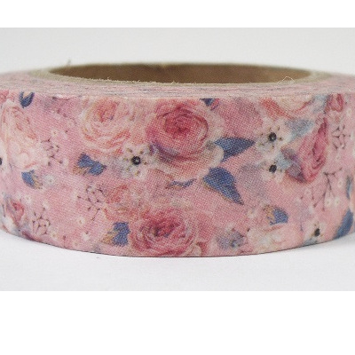 Washi Tape - Pale Pink Roses with Blue Fleck
