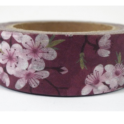 Washi Tape - Pink Blossoms on Burgundy Background
