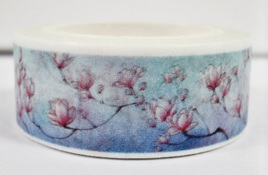 Washi Tape - Pink Blossoms on Pale Blue Background