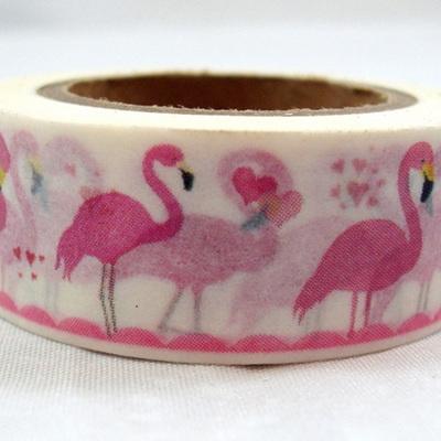Washi Tape - Pink Flamingos on White Background