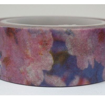 Washi Tape - Pink Flowers on Purple Background