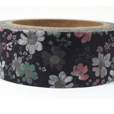Washi Tape - Pink, Green & White Flowers on Dark Background