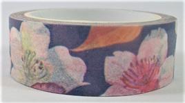 Washi Tape - Pink & White Hibiscus on Blue Background