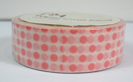 Washi Tape - Polka Dots: Pale Pink on White Background