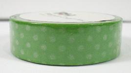 Washi Tape - Polka Dots: White on Green Background