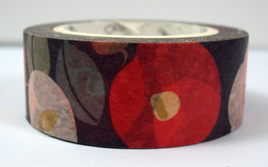 Washi Tape - Red, Green & White Flowers on Black Background