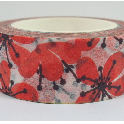 Washi Tape - Red Plum Flowers