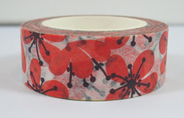 Washi Tape - Red Plum Flowers on White Background